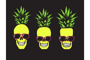 Funny skulls like a pineapple