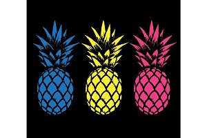 Set of color pineapples