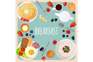 Breakfast table with food isolated illustration on light blue