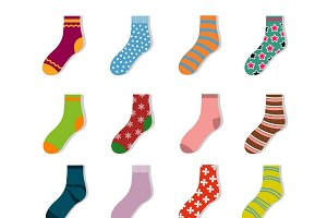 Colorful cute child socks icons