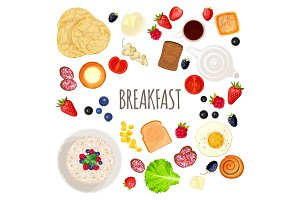 Breakfast food and drink collection isolated illustration on white