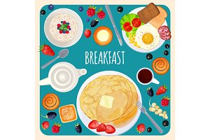 Breakfast food and drink top view isolated illustration