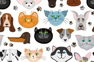 Dog and cat seamless pattern