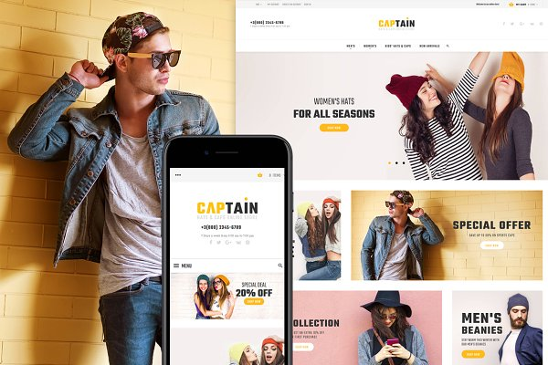 Magento Themes: Zemez - Captain-Hats and Caps Magento2 Theme