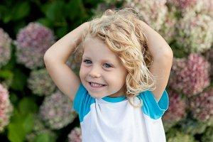 Shy blond child