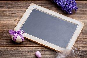 Easter eggs and blackboard