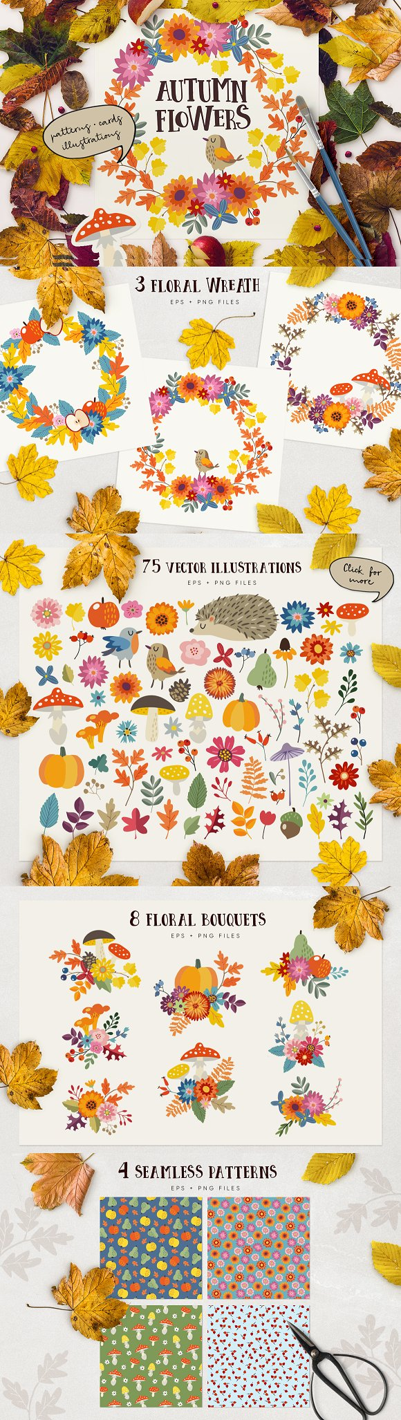 Autumn flowers graphic coll-Graphicriver中文最全的素材分享平台
