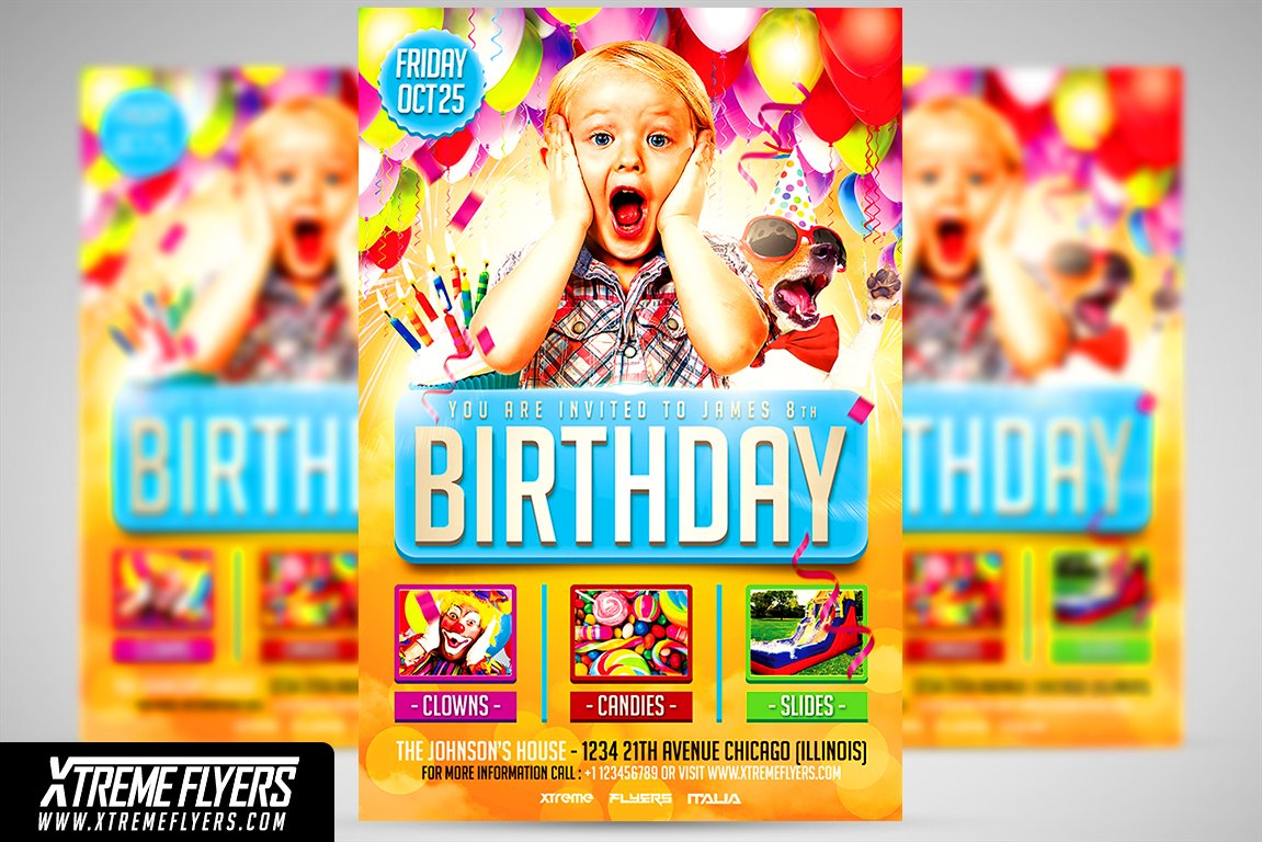 Kids birthday flyer template flyer templates creative market maxwellsz