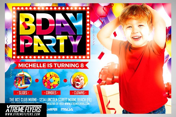 kids birthday party flyer template flyer templates creative market