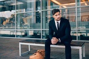 Business traveler waiting outside