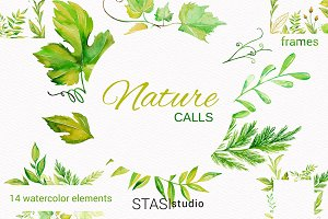 Watercolor Floral Frames Clipart
