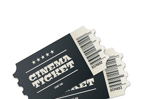 Two designed cinema tickets