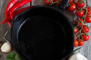 Empty iron pan