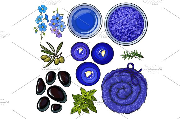 Blue Set Of Spa Salon Accessories Basalt Stones Massage Oil Towel Candles Aromatic Salt