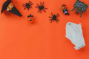 Top view Halloween decoration.