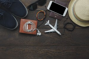 Top view items to travel