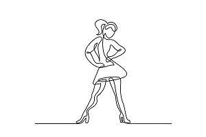 Continuous line drawing of dancing woman