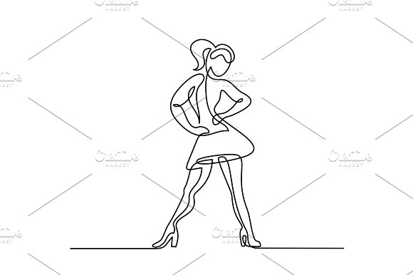 line drawing of dancing woman