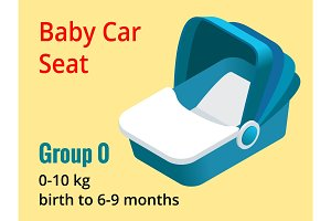 Isometric baby car seat group 0 vector illustration. Road Safety Type of child restraint rearward-facing baby seat, forward-facing child seat, booster cushion