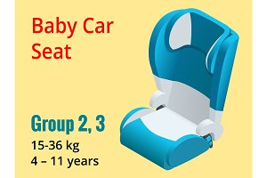 Isometric baby car seat group 2,3 vector illustration. Road Safety Type of child restraint rearward-facing baby seat, forward-facing child seat, booster cushion