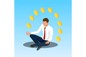 Young yoga position businessman relaxing. Businessman sitting in padmasana lotus pose. Isometric illustration