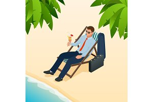 Businessman relaxing on his sun lounger on the beach. Isometric people. Business idea, innovation, development and strategy vector