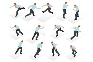 Isometric set of Businessman character design. 3D People isometric business man in different poses isolated. Working in office.