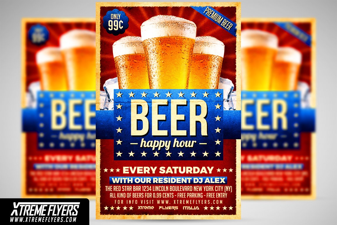 Beer Happy Hour Flyer Template Flyer Templates Creative Market