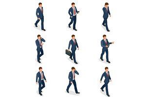 Isometric set of Businessman and businesswoman character design. People isometric business man in different poses isolated. Working in office.