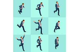Set isometric running businessman. Businessman Man on white background. Isometric character poses. Cartoon people. Create your own design for vector