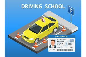 Design concept driving school or learning to drive. Flat isometric illustration