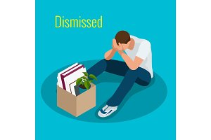Isometric 3d vector illustration people Dismissed sad man carrying box with her things Dismissal, Unemployment, jobless and employee job reduction concept