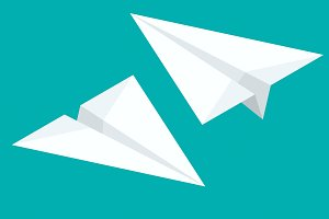 Isometric Paper airplane flying on background. Paper planes icon set in simple flat style. Vector illustration.