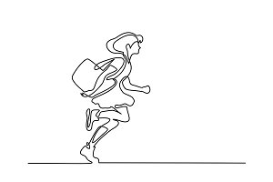 Girl running to school with bag
