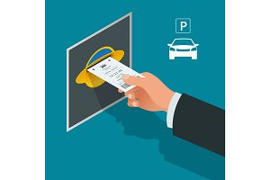 Mans hand with Parking tickets. Isometric Flat illustration vector icon for web. Urban transport. Parking space. Accessibility