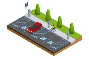 Isometric Cars in the parking lot or car parking for the disabled. Isometric Cars in the parking lot or car parking. City parking vector web banner isometric flat vector style.