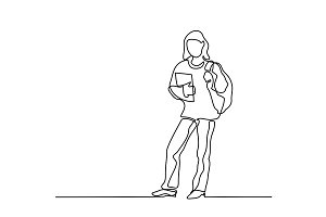 Standing girl student with book and bag