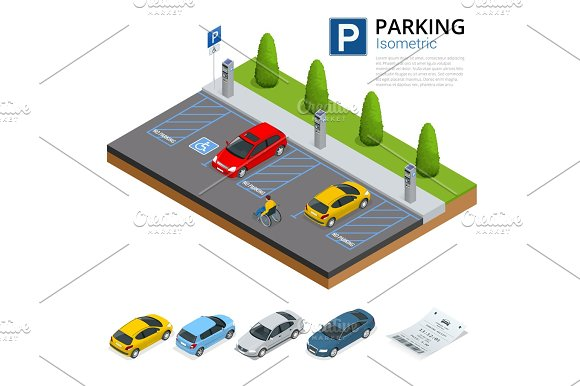 Isometric Cars in the parking lot or car parking  City parking vector web  banner isometric. Isometric Cars in the parking lot or car parking  City parking