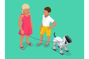 Isometric Techno Robot concept. A girl and a boy on a walk with a robot dog.