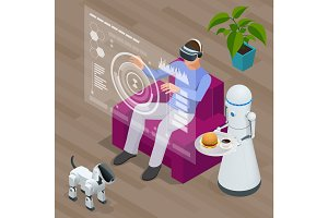Isometric Techno Robots and Man sitting on sofa at home wearing Virtual Reality Headset.