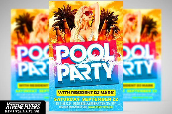 pool party flyer template flyer templates creative market