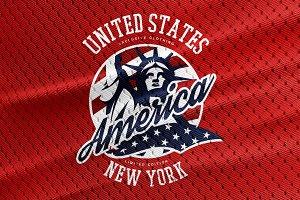 America t-shirt tee print design.