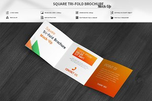Square Tri-Fold Brochure Mock-Up