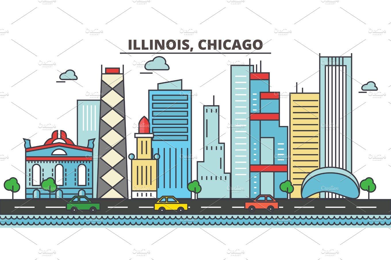 Chicago City Skyline Architecture Buildings Streets Silhouette Landscape Panorama Landmarks Editable Strokes Flat Design Line Vector Illustration