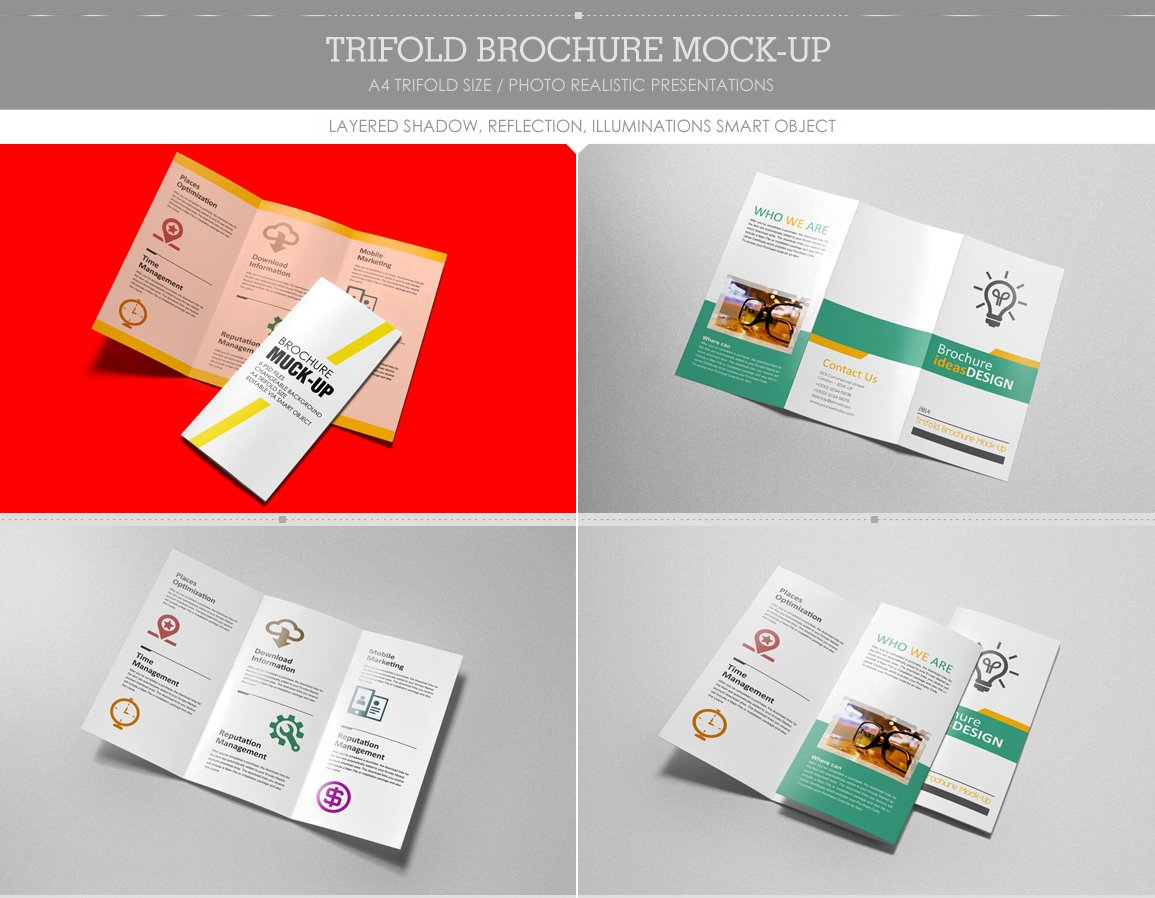 Trifold brochure mock up product mockups creative market reheart Gallery