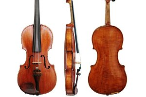 Vintage Violin Sides and Bow
