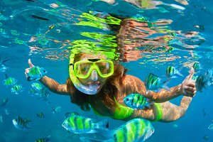 Girl in snorkelling mask