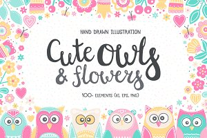 Owls And Flowers. Vector Clip Art.