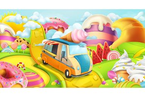 Sweet candy land, vector