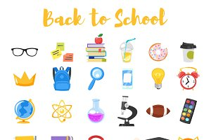 Back to school cartoon icons